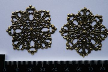 4 x Antique filigree centre 45mm dia Jewelery wooden box embellishment aged C039